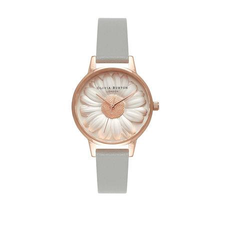 Olivia Burton  Uhr  -  Watch 3D Daisy Grey  - in roségold  -  Uhr für Damen braun
