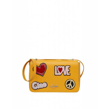 Love Moschino  Öko-leder-umhängetasche Mit Patch Damen Gr. U/Onesize Gelb orange