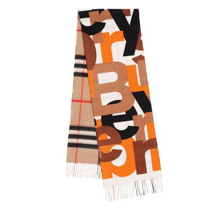 Burberry  Accessoire  -  Logo Fringed Scarf Brown/Black/Orange  - in bunt  -  Accessoire für Damen beige
