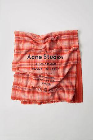 Acne Studios  Cassiar Check Rosa/Orange Karierter Logo-Schal grau