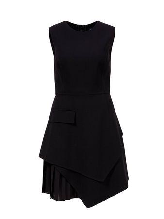 Oscar de la Renta  - Asymmetrisches Kleid aus Stretch-Woll-Crepe Schwarz schwarz