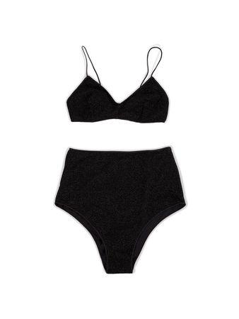 Oseree  - Bikini in Metallic Optik 'Bra High Waisted Lumiere' Schwarz schwarz