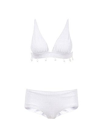 Oseree  - Bikini in Metallic Optik 'Triangel V Lumiere' Silber
