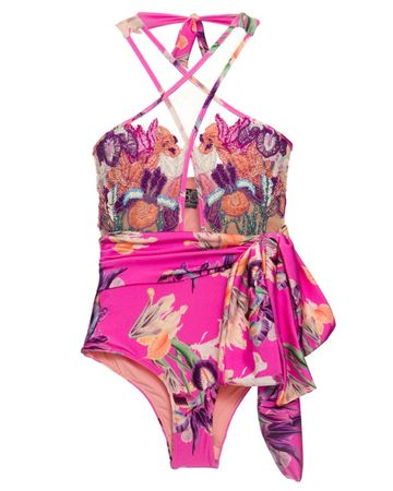 Pat Bo Grace Handbestickter Badeanzug Pink