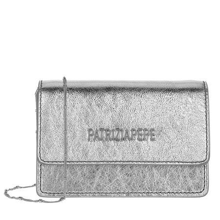 Patrizia Pepe  Crossbody Bags - Mini Shoulder Bag Piping Metallic Logo - in silber - für Damen grau