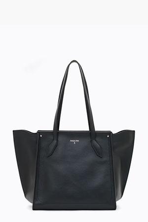 Patrizia Pepe  Einkaufstasche aus Leder Nero - Schwarz Damen Gr.U weiss