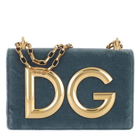 Dolce&Gabbana  Tasche  -  DG Girls Crossbody Bag Velvet Azzuro/Petrolio  - in blau  -  Tasche für Damen grau