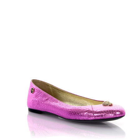Philipp Plein  Ballerinas Pink Lady Leder pink Schlangenprägung Strass Skull lila