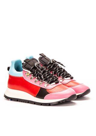 Philippe Model Hiking-Sneakers aus Leder in Rot-Pink grau