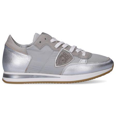 Philippe Model  Sneaker low TROPEZ  Kalbsleder  Textil Veloursleder Logo Patch silber grau
