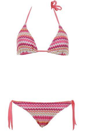 Pin-up Stars Gefütterter Triangle Bikini mit Streifenmuster in Koralle-Pink-Mint pink