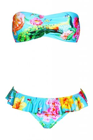 Pin-up Stars Padded Bandeau Bikini mit Blumenprint in türkis