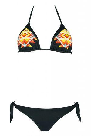 Pin-up Stars Padded Triangle Bikini in schwarz mit Perlenstickerei schwarz