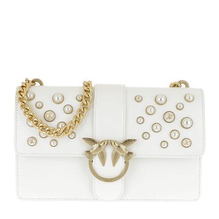 PINKO  Tasche  -  Love Leather Pearls Crossbody Bag Bianco  - in weiß  -  Tasche für Damen grau