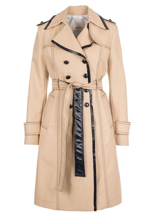 PINKO Trenchcoat mit Lack-Dekor in Beige-Schwarz orange