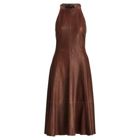 Polo Ralph Lauren Ausgestelltes Kleid aus Lammleder braun