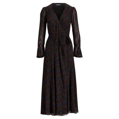 Polo Ralph Lauren Geblümtes Georgette-Wickelkleid schwarz