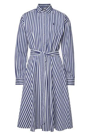Polo Ralph Lauren  Gestreiftes Hemdblusenkleid aus Baumwolle mit Stickerei grau
