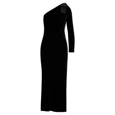 Polo Ralph Lauren Samtkleid mit Schleifenbrosche schwarz
