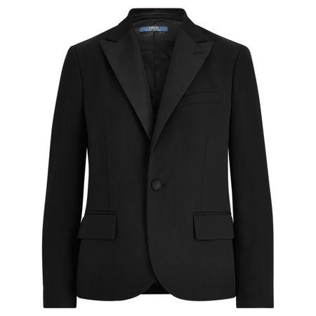 Polo Ralph Lauren Wollblazer mit Seidenbesatz schwarz
