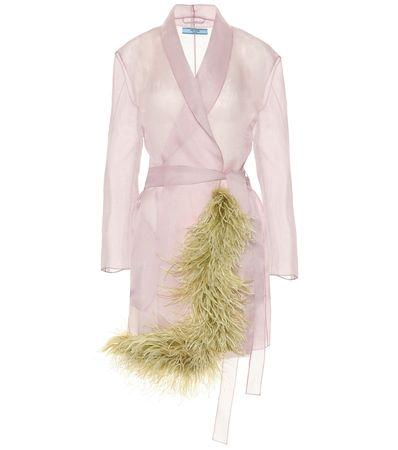 Prada Mantel aus Seidenorganza mit Federn braun