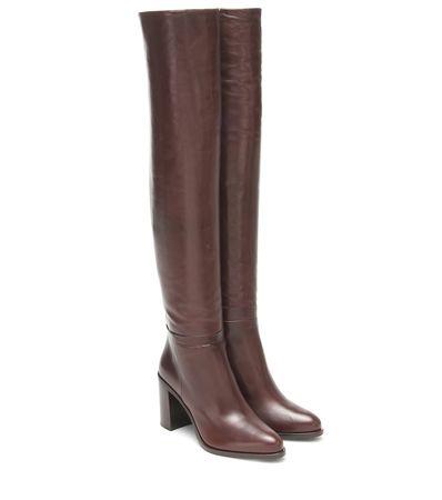 Prada Overknee-Stiefel aus Leder braun