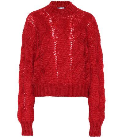 Prada Pullover aus einem Mohairgemisch rot