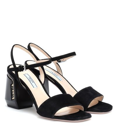 Prada Sandalen aus Veloursleder schwarz