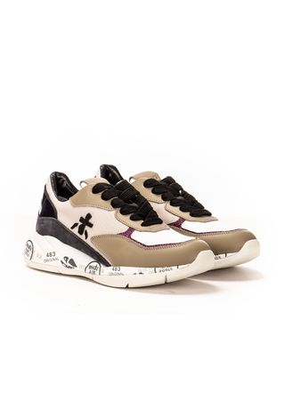 Premiata Plateau-Sneakers im Material-Mix weiss