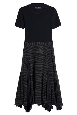 Proenza Schouler  Flared-Dress mit einem Rock aus Seidenchiffon schwarz