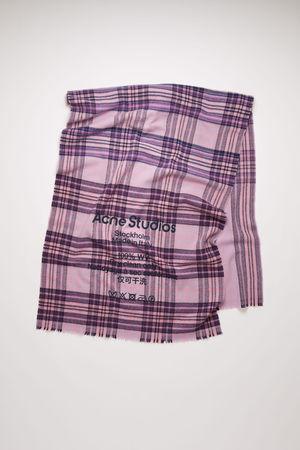 Acne Studios  FN-UX-SCAR000110 Lilac/purple  Checked logo scarf grau