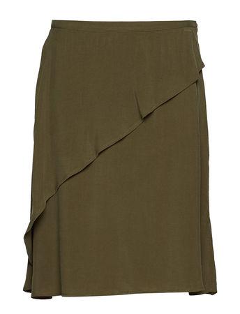 Rabens Saloner Sand Washed Draped Skirt Kurzes Kleid Grün RABENS SAL R braun