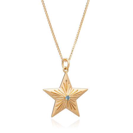 Rachel Jackson London  Halskette  -  Blue Topaz Lucky Star Necklace Yellow Gold  - in gelbgold  -  Halskette für Damen orange
