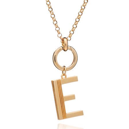 Rachel Jackson London  Halskette  -  Oversized Alphabet E Pendant Necklace Yellow Gold  - in gelbgold  -  Halskette für Damen orange