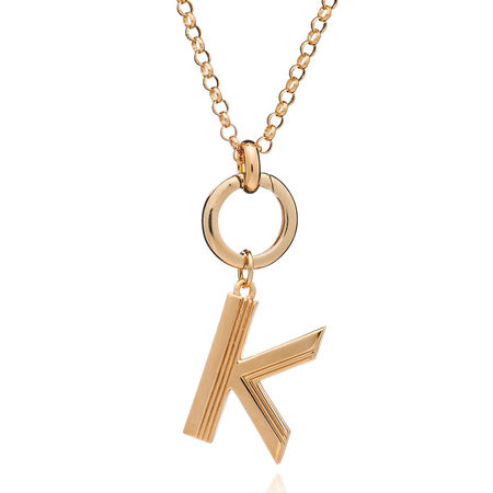 Rachel Jackson London  Halskette  -  Oversized Alphabet K Pendant Necklace Yellow Gold  - in gelbgold  -  Halskette für Damen orange