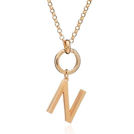 Rachel Jackson London  Halskette  -  Oversized Alphabet N Pendant Necklace Yellow Gold  - in gelbgold  -  Halskette für Damen orange