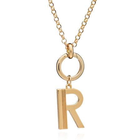 Rachel Jackson London  Halskette  -  Oversized Alphabet R Pendant Necklace Yellow Gold  - in gelbgold  -  Halskette für Damen orange