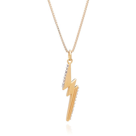 Rachel Jackson London  Halskette  -  YouRe Electric Lightening Bolt Necklace Yellow Gold  - in gelbgold  -  Halskette für Damen braun