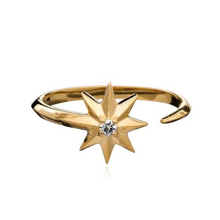 Rachel Jackson London  Ring  -  Shooting Star Diamond Adjustable Ring Silver  - in gold  -  Ring für Damen orange