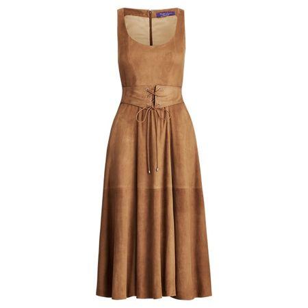Ralph Lauren Collection Kleid Bingham aus Lammwildleder braun