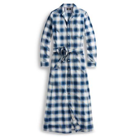 Ralph Lauren Kariertes Kleid in Leinwandbindung grau