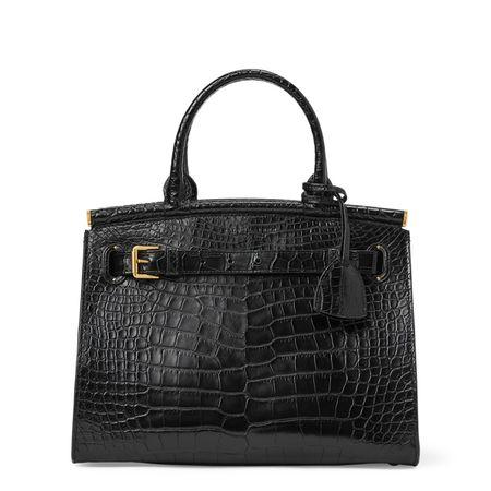Ralph Lauren Mittelgroße Alligator-TascheRL50 schwarz