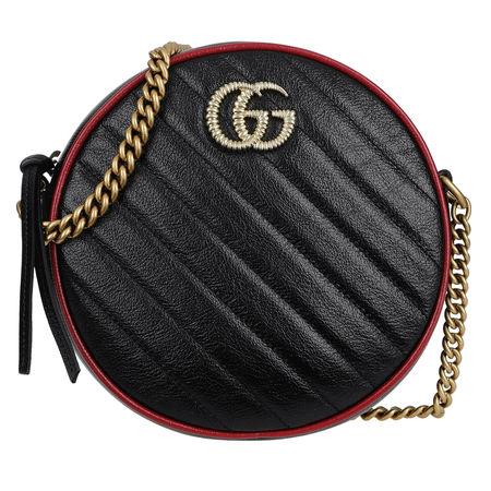 Gucci  Umhängetasche  -  GG Marmon Mini Round Shoulder Bag Leather Black/Red  - in schwarz  -  Umhängetasche für Damen schwarz