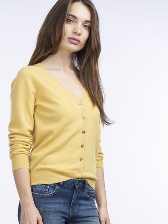 Repeat Cashmere Basic Kaschmir-Cardigan mit V-Ausschnitt weiss