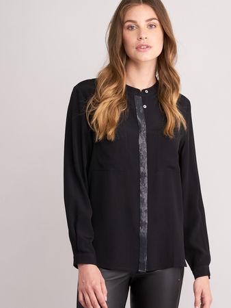 Repeat Cashmere Bluse mit Brusttaschen und Pailletten-Detail braun