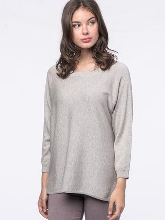 Repeat Cashmere Fledermaus-Pullover mit Seitenschlitzen grau