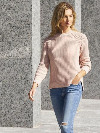 Repeat Cashmere Gerippter Grobstrick-Pullover aus Baumwolle mit Pointelle Detail am Ärmel grau