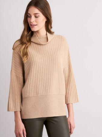 Repeat Cashmere Gerippter Pullover mit Stehkragen grau
