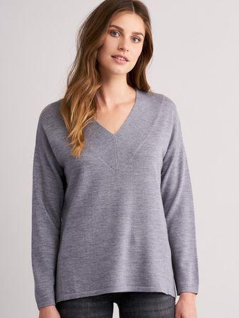 Repeat Cashmere Merino-Pullover mit V-Ausschnitt grau