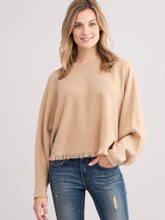 Repeat Cashmere Poncho-Pullover mit Fransen grau